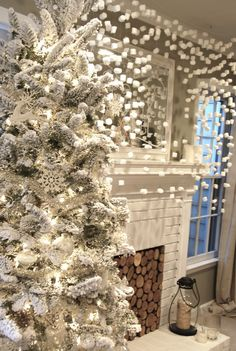 white christmas trees, ball, fireplaces, snow, winter wonderland, holidays, log, marshmallows, garland