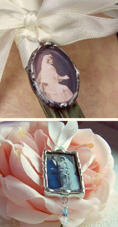 remember loved one's at your wedding with photo charm & attach to bouquet or boutonniere. boutonnier, bouquet, photo charm, charm attach