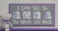 Gray Purple Baby Nursery Sign - I Love you to the Moon and Back - Lavender Grey Nursery Wall Art Baby Sign 4x4 Picture Frame. $34.95, via Etsy.