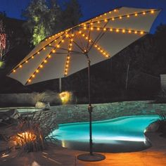 This 11' Aluminum Patio Umbrella features Auto tilt and crank lift for ease of use. It includes on-board LED lights in amber color. A functional umbrella for $499.00 sale price.  Product ID : GAL-986AB #PatioUmbrella