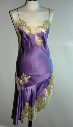 Vintage purple silk and gold lace nightgown, c. 1950.