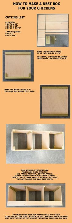 How to make a nest box for your chickens.  This nestbox can sit on the floor of your poultry coop or be hung from a wall.  The simple design only takes minutes to make so your hens will soon be laying eggs in there | Wells Poultry Blog
