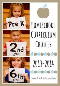 Homeschool Curriculum Choices 2013-2014 from 1+1+1=1 {Preschool, 2nd Grade, 6th Grade}
