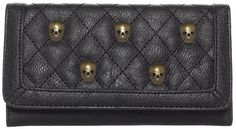 LOUNGEFLY BLACK QUILTED SKULL STUDS WALLET  Looking for something out of the ordinary? Search no more, this skull stud wallet from Loungefly is just what you need! Featuring 3D skull studs, a quilted front, back zipper pocket, and plenty of room inside, this faux leather wallet is the perfect size just for you! $30.00 #loungefly #wallet #skulls