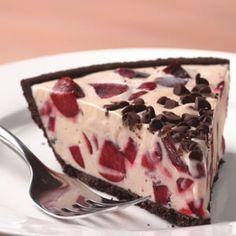 Chocolate cherry ice cream pie with chocolate cookie crust
