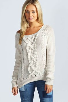White Victoria with Pink Fleck Chunky Cable Knit Jumper / Sweater