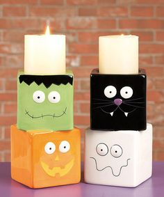 Look what I found on #zulily! Stacked Spooky Faces Candleholder Set #zulilyfinds