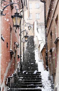 Warsaw, Poland #stairway #steps #Warsaw #Poland #stone #snow #lanterns #street #travel #photography