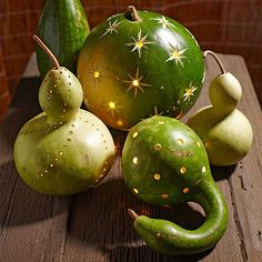 Green Lantern Gourds - love these for fall decorating!
