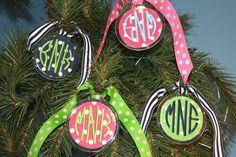 monogrammed ornaments preppi monogram, gift ideas, christmas decorations, preppy, christma ornament, christmas ornaments, monograms, monogram ornament, monogram christma