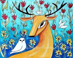 Deer Art Print, by Mary Ann Farley, $20.00, #art #animals
