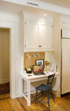 Cute and compact kitchen desk.