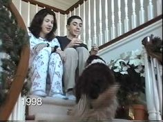 """VIDEO: (Almost Got Teary Watching This) """"25 Years of Christmas""""... Every year, our dad would tape us coming down the stairs. This is a compilation of all the videos I could find. Relatives and pets grow up and disappear, and new extended family members appear in their place."""