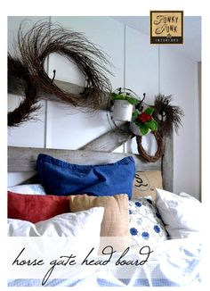 An old horse gate is used as a headboard for the master bedroom - by Funky Junk Interiors