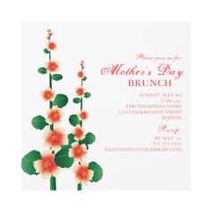 Pretty floral Mother's Day Invitations for Moms garden party brunch.