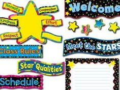 """Decorate your classroom walls with a full-sized bulletin board set that encourages students to start the new school year off on the right foot. The Back to School Stars Bulletin Board Set allows teachers to highlight positive behavior and promote star qualities in their classrooms. Includes student stars, banners, blank writing chart, and other decorative pieces. Writing Chart measures 17.5"""" x 24"""". Picture above may not represent a full set."""