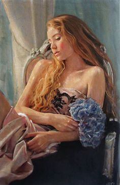 """""""The Blossom"""" - William Oxer, acrylic on canvas; UK {contemporary figurative artist blonde female seated woman painting}"""