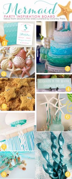 Mermaid Party Ideas, Mermaid party favors - all pulled together into one place!   #swankypress  #mermaid