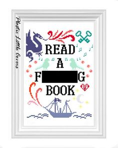 Cross Stitch Pattern  Read a Fing Book by plasticlittlecovers, £3.00
