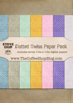 FREE digital paper / The CoffeeShop Blog: CoffeeShop Dotted Swiss Digital Paper Pack!