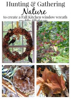 Hunting and gathering #nature to create #rustic #Fall #kitchen window wreath