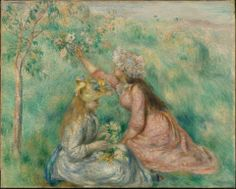 """Pierre-Auguste Renior, """"Girls Picking Flowers in a Meadow, about 1890."""