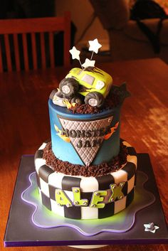 monster truck cake- this is sooo awesome for a boy birthday