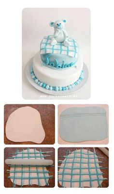 baby shower cakes, cake decor, baby blankets, plaid cake, cake toppers