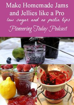 Podcast on making homemade jams and jellies like a pro. Love the tips for using low sugar or honey and how to avoid using store bough pectin.  Which berries need extra acid for shelf stable, good info.