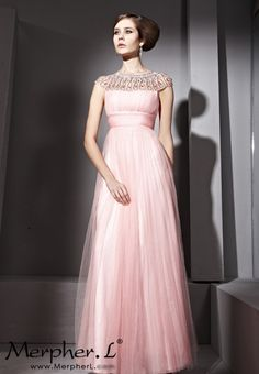 Pink Round Neck Sexy Prom Formal Ball Long Evening Dress