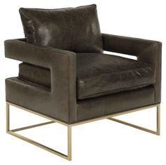 Bevin Leather Accent Chair, Smoke