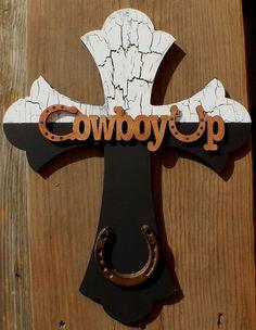 Cowboy Wooden Decorative Cross. $25.00, via Etsy. My favorite so far :)