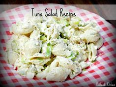Tuna Salad 1 12 oz. can of albacore white tuna in water drained 12 oz. medium sized shells (any pasta works) 1/2 cup finely chopped onions (1/4 of which can be green onion if preferred) 1/2 cup finely chopped celery 2 cups Hellman's Light Mayonnaise 1 tablespoon mustard 2 tablespoons white vinegar (sometimes I use pickle juice instead) 5 eggs hardboiled, peeled, all chopped except 1 1 tablespoon fresh dill chopped up fine 1 tablespoon fresh parsley chopped up fine s & p to taste tuna salad, pasta, shell recip