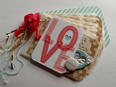 Beautiful Love Valentines Mini Album using Elles Studio and glassine bags by sabr - Two Peas in a Bucket