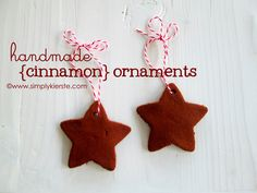 handmade cinnamon tree ornaments...I've made these before with my Kindergarteners and they turned out great!!!! And smell so good ;)