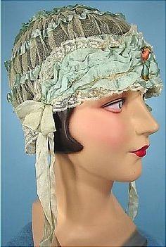 1920s Aqua Silk Ribbon and Lace Cap
