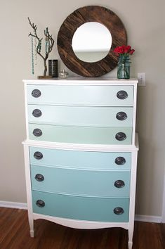 Nature Inspired Handcrafted Jewelry: OMBRE Painted Dresser Tutorial - How to Refinish old furniture in 10 Easy Steps!