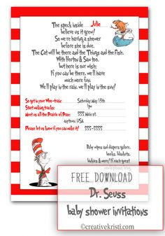 Free PDF Dr. Seuss Baby Shower invitations