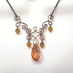 Wire Work Crystal Necklace - Swarovski Amber Teardrop - Round crystals - Bronze Wire Jewelry - Henna Style on Etsy, $25.00
