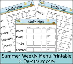 Monthly Goals with Free Summer Weekly Menu - 3Dinosaurs.com