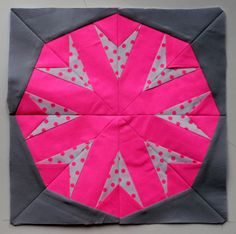 """Super-sweet paper pieced """"Neon Ball"""" block by Cath of Wombat quilts."""