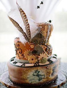 Steampunk wedding cake #wedding #cakes