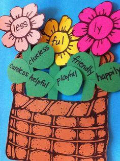 affixes and root words craftivity. flower and basket freebie