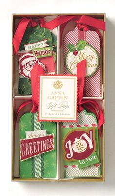 Anna Griffin - Twinkle Bright Collection - Christmas - 3 Dimensional Gift Tag Set with Foil Accents at Scrapbook.com