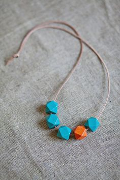 Geometric Necklace / Boho Necklace / Wooden by BlueBirdLab on Etsy, $17.00
