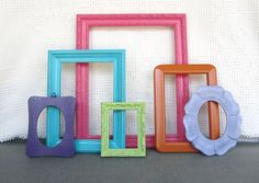 Bright Painted Ornate Frames Set of 6 Hot Pink Lilac Turquoise Orange Green Purple- Upcycled Playroom Teen Girl Kids College Dorm room