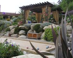 idea, cabana, pergolas, court, patio, backyard, landscape designs, outdoor curtains, garden