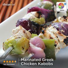 Marinated Greek Chicken Kabobs from Allrecipes.com #myplate #protein #dairy #veggies