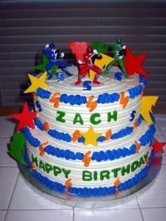 Power Rangers Birthday Cake and Cupcakes