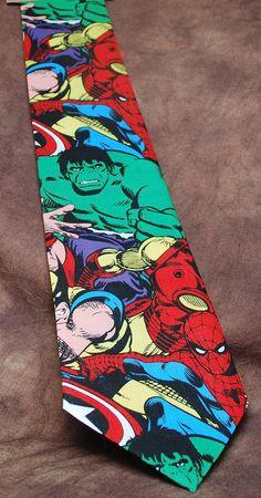Lionhearted Ties Worthy of a Superhero Groom -Jumbled Marvel Tie ($33)